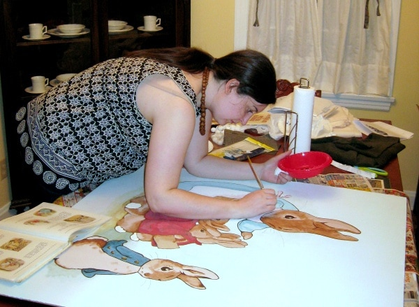 Painting a Beatrix Potter mural