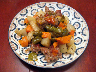 Sausage and Potatoes Stephen - easy one dish Italian casserole