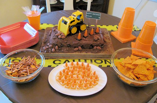 Construction Cake and snacks