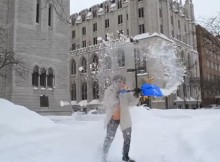 Shoveling snow in snowiest city Syracuse