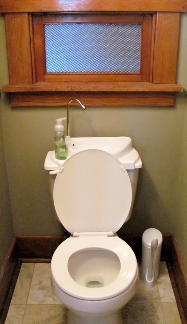 Sink positive is green and great for small bathrooms jen for Public bathroom sink