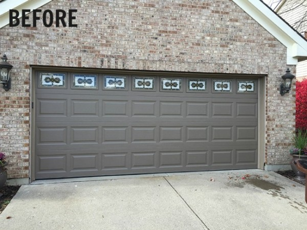 Before: Victorian style faux leaded glass on the garage
