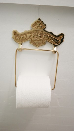 Antique reproduction brass toilet paper holder