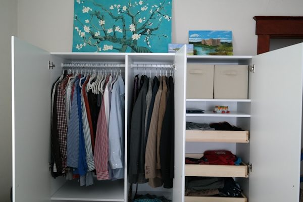 Inside wardrobe cabinets from Lowes